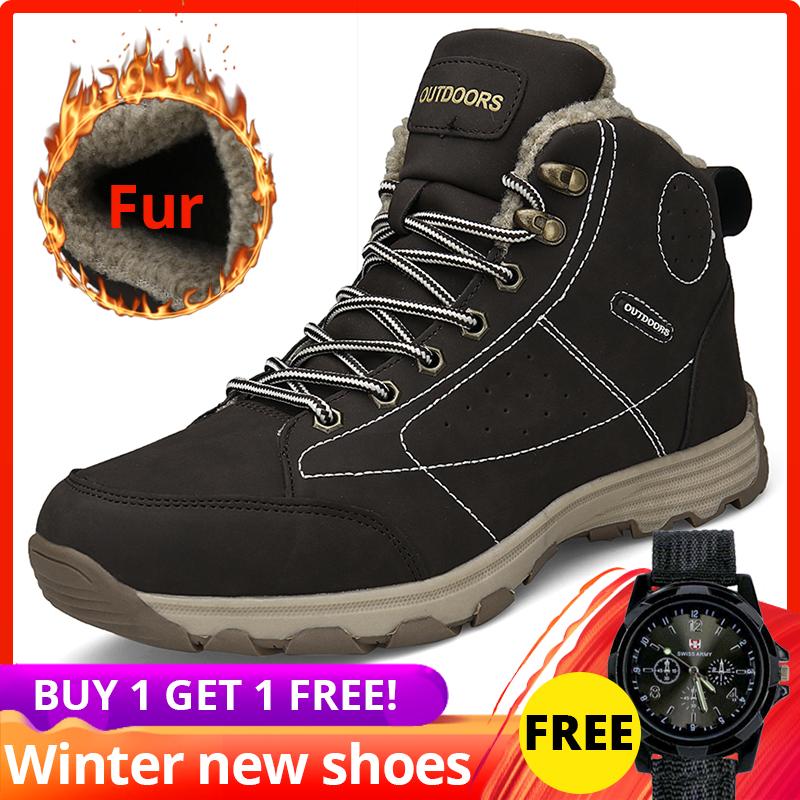 men winter boots High Quality Casual high top ankle leather with Fur Plush Warm shoes men winter #XW602
