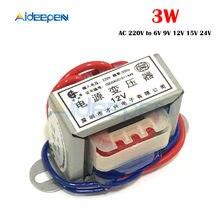 Transformateur d'alimentation ca 220V à 6V 9V 12V 15V 24V, tension 3W, noyau en cuivre EI 50Hz ~ 60Hz, simple tension 2 lignes en cuivre