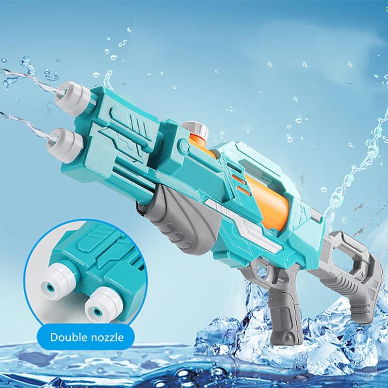 Children's Water Gun Toys Pull-out Water Gun High Pressure Water Gun Dual Nozzle 8 Meters Range Outdoor Beach Summer Toys