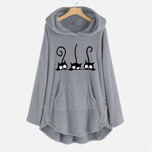 Plus Size Hoodies Womens Fleece Cat Embroidery Warm Hoodie Top Button Autumn Winter Size Long Sleeve Sweatshirts Hoody Ladies(China)
