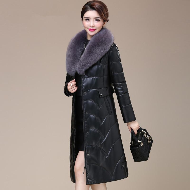 Leather Genuine Jacket Fox Fur Collar Long Down Jackets Winter Jacket Women Real Sheepskin Coat Chaqueta Mujer MY3935         S