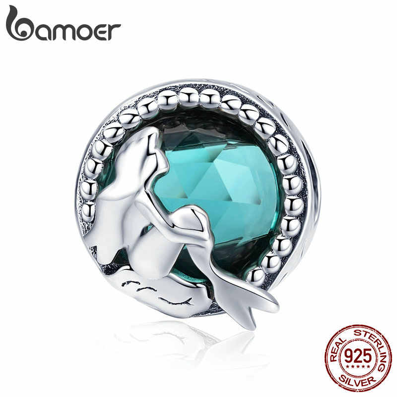 BAMOER Hot Sale 925 Sterling Silver Mermaid's Missing Round Charms Beads fit Women Bracelets Necklaces DIY Jewelry Making SCC894
