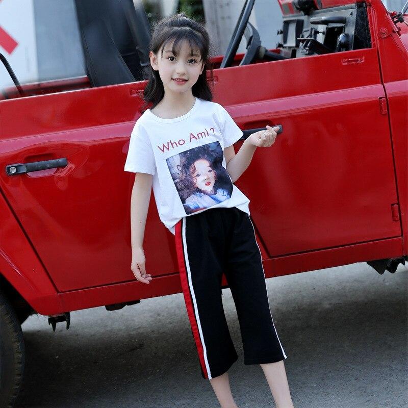 2019 Meninas Da Criança Verão Conjunto de Roupas Crianças Dos Desenhos Animados Imprimir Branca Top Camiseta + Calça Esportes Ternos Roupas para Meninas 8 10 12 anos