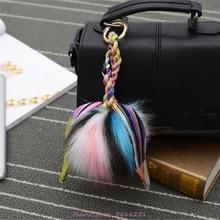 цена Korean Version Big Fox Fur Keychain 12cm Silk Scarf With Bag Accessories Key Chain Wholesale Car Decoration Keyring Woman Cute онлайн в 2017 году