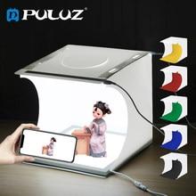 Puluz 20cm lightbox photo studio box + led fotografia shadowless luz painel da lâmpada estúdio tiro tenda caixa kit & 6 cor backdrops