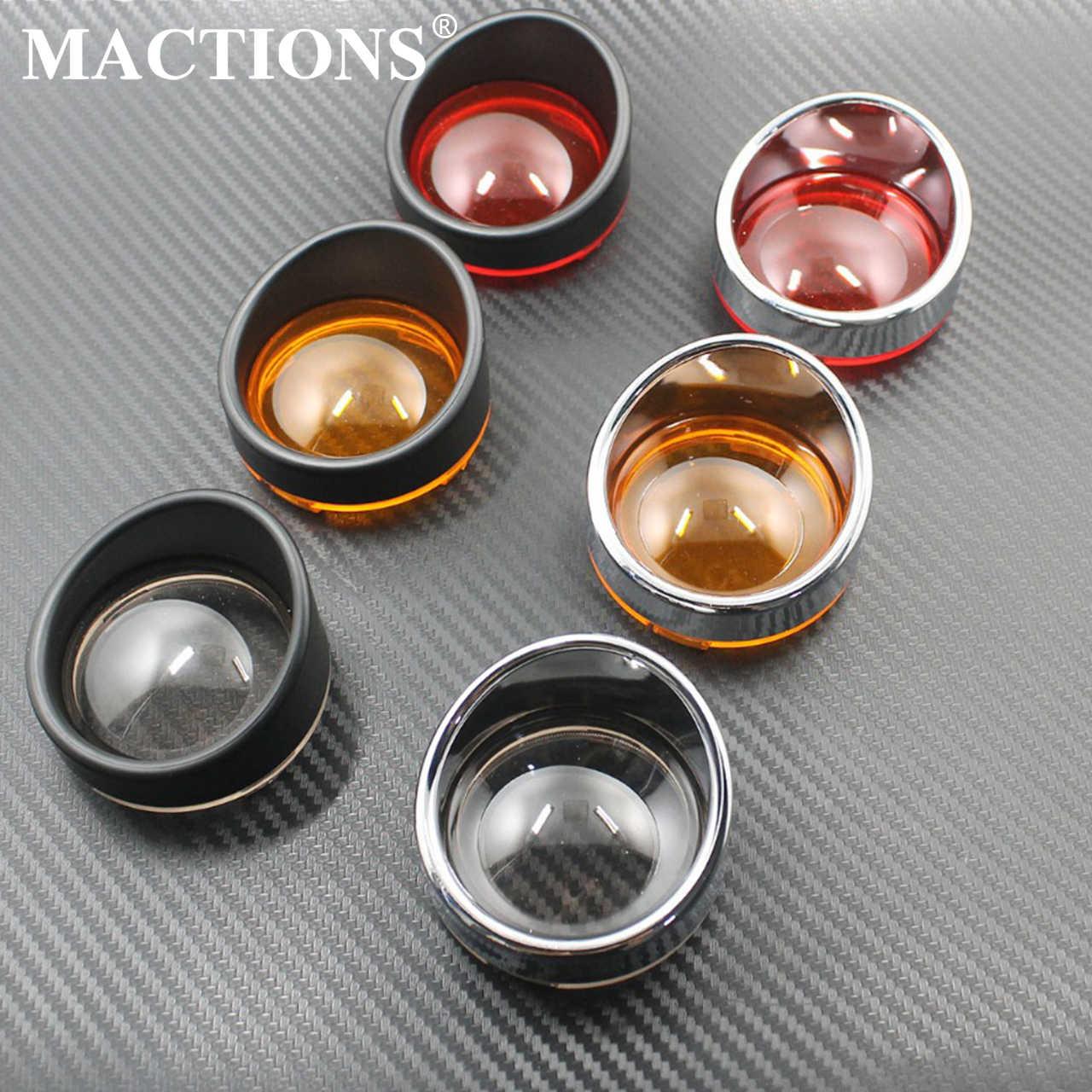 Mactions Vizier-Stijl Richtingaanwijzer Blinker Bezels Indicator Trim Ring W/Lens Voor Harley Touring FLHX Sportster softail Dyna