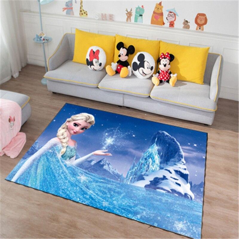 Reine des neiges Anna Elsa tapis de porte | Tapis de jeu pour enfants et filles, tapis de cuisine pour chambre à coucher Mickey et Minnie Mouse, tapis de salle de bain d'intérieur