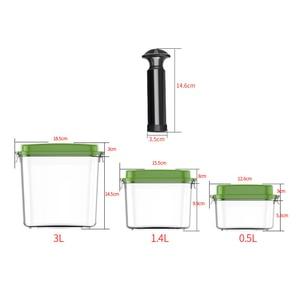 Image 2 - ABS büyük kapasiteli boş konteyner yapımı gıda kare plastik saklama kutusu pompa ile 500ML + 1400ML + 3000ML