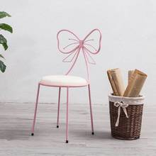 Nordic Bedroom Iron Art Cosmetic Chair Creative Dessert Shop Girl Butterfly Chair Catering Shop Milk Tea Shop Dining Chair(China)