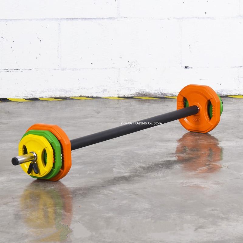 20kg Standard Rubber Coloured Barbell Set, 20KG Barbell Kit Studio Pump Set For Aerobic Weights Exercise, Home Gym Fitness Bar
