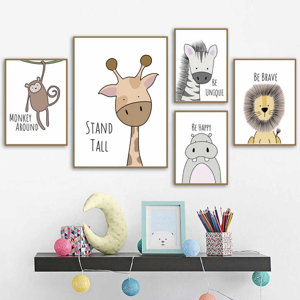 하마 사자 악어 boho 보육 벽 예술 얼룩말 원숭이 캔버스 기린 포스터 귀여운 만화 동물 키즈 여자 침실 장식 # p8