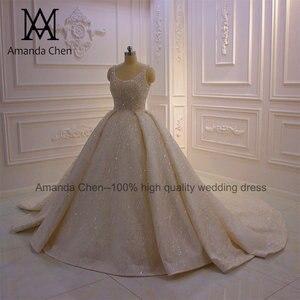 Image 2 - abito da sposa Cap Sleeve Crystal Pearls Shiny Turkey Wedding Dress 2020