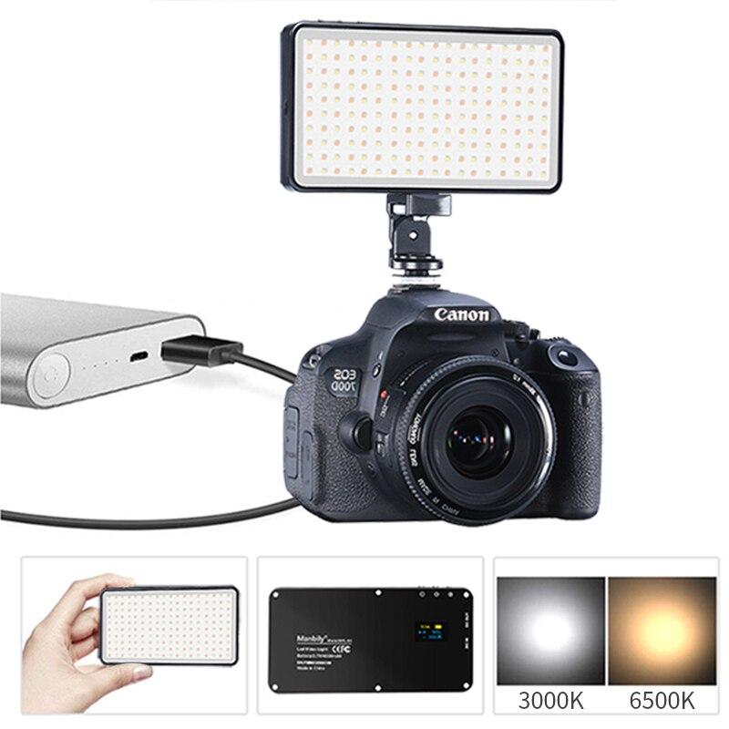 Manbily MFL-06 Dimmable Mini LED Video Light 3000K-6500K On Camera 180 LED DSLR Photographic Lighting Lamp