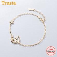 Trusta-pulsera minimalista de Plata de Ley 925 auténtica para mujer y niña, brazalete dorado unicornio, estrellas, Luna, CZ, regalo de cumpleaños, DA784