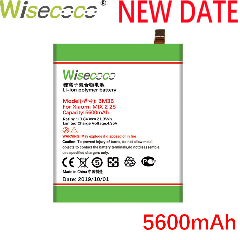 WISECOCO 5600mAh BM3B <font><b>Battery</b></font> For Xiaomi <font><b>Mi</b></font> <font><b>Mix</b></font> <font><b>2S</b></font> Mobile Phone In Stock Latest Production High Quality <font><b>Battery</b></font>+Tracking Number image