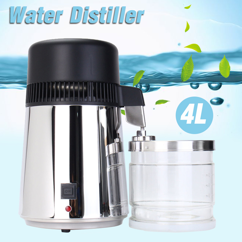 750W 4L 304 Stainless Steel Housing Use Capacity Pure Water Distiller Purifier Container Filter Distilled Water Device 110V/220V|Water Filters| - AliExpress
