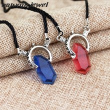Fashion DMC Devil MayCry 5 Dante Pendant Necklace Red Blue crystal Necklaces Long rope chain vintage Gifts for Women men Jewelry(China)