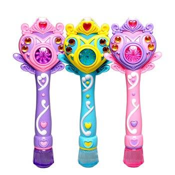 [Gracioso princesa completamente automática electrónica máquina de burbujas varita mágica música y luz burbuja pistola de juguete de los niños fiesta regalo