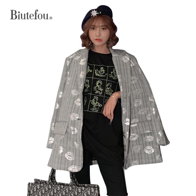 2019 Autumn Chic Blazers Fashion Plaid Hot Drilling Women Long Jackets