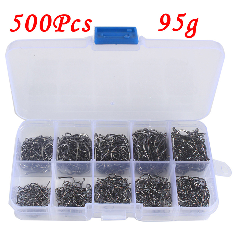 100-600pcs/Box High Carbon Steel Fishing Hooks Mixed Size Barbed Jig Hook Carp Fishing Jig Head For Fly Fishing Accessories