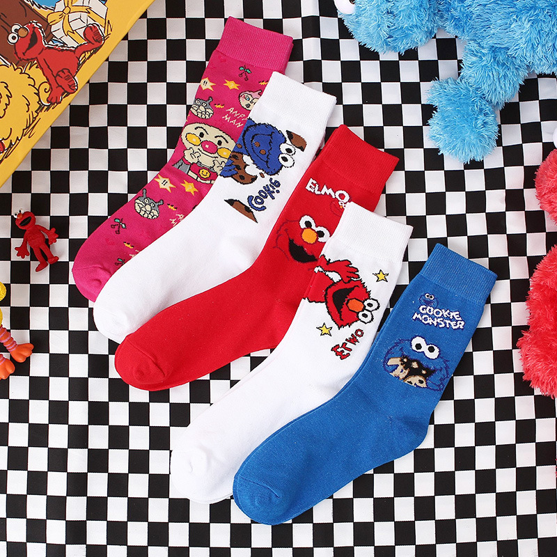 Cartoon Socks Women Sesame Street Elmo Cookie Monster Cosplay Socks For Girls Funny Cute Socks Cotton Autumn Winter Spring Sock