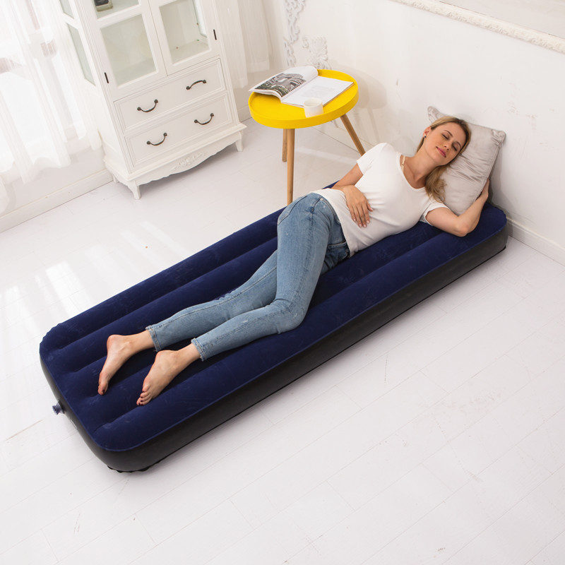 Single inflatable mattress, flocked sofa bed, portable outdoor mattress moisture-proof lunch Lounge