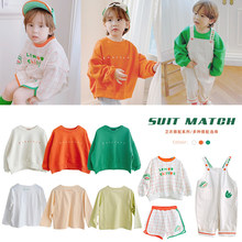 Kids Girls Boys T-shirts 2021 Spring Summer O-Neck Solid Color Tops Long-sleeved Sweater Children's Clothing 1-11Y
