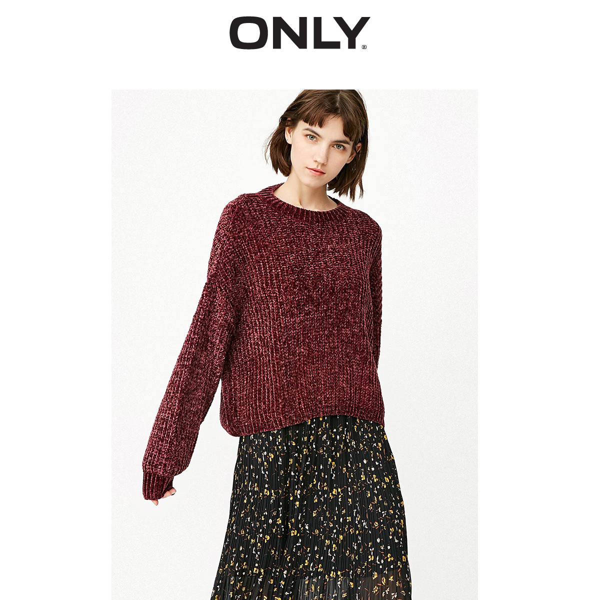 ONLY Women's 2019 Autumn New V Neckline Open Back Chenille Loose Knit Sweater | 119113525