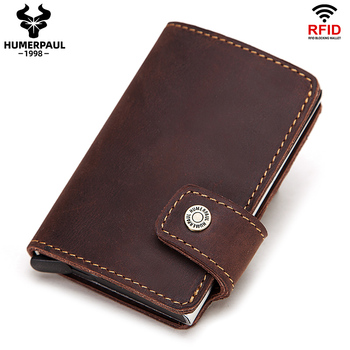 Rfid Blocking  Men Credit Card Holder Fashion Automatic Business ID Case Aluminum Anti-Degaussing Anti-Theft Wallet 2020 - discount item  38% OFF Wallets & Holders