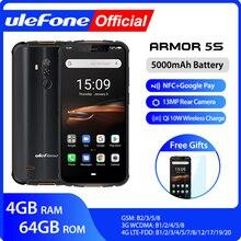 Ulefone ARMOR 5S กันน้ำ IP68 NFC โทรศัพท์มือถือ MT6763 OCTA core Android 9.0 4GB + 64GB ไร้สาย 4G LTE สมาร์ทโฟน