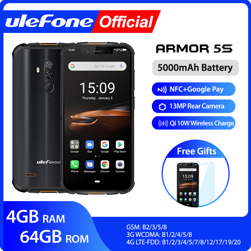 Ulefone Armor 5S Waterproof IP68 NFC Rugged Mobile Phone MT6763 Otca-core Android 9.0 4GB+64GB Wireless Charge 4G LTE Smartphone