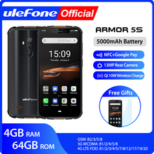 Ulefone Armor 5S Waterproof IP68 NFC Rugged Mobile Phone MT6763 Otca core Android 9.0 4GB+64GB wireless charge 4G LTE Smartphone