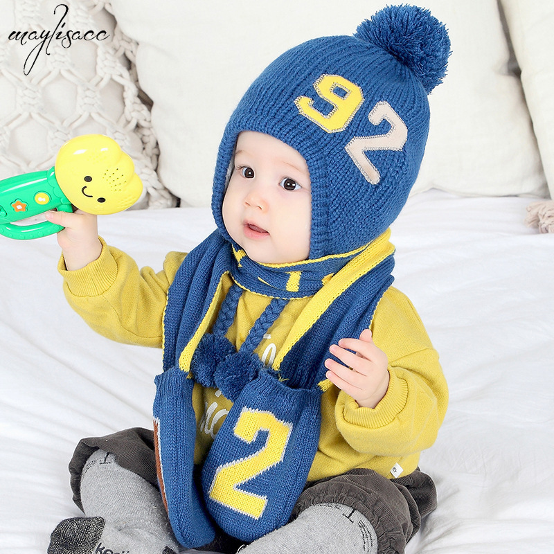 0-3 Years Old Children Baby Cartoon Knitting Cap Scarf Gloves 3 Pcs Set Baby Solid Color Velvet Cap Autumn Winter Kids Warm Hat