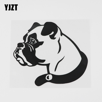 YJZT 12.4CMX10.9CM Fun Boxer Animal Dog Decor Decal Vinyl Car Sticker Black/Silver 8A-0616 image