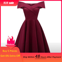 Dressv בורגונדי קוקטייל שמלות כבוי כתף שרוולים קצרים סיום סלבריטאים שמלות אלגנטי אופנה אלגנטית כדור שמלה