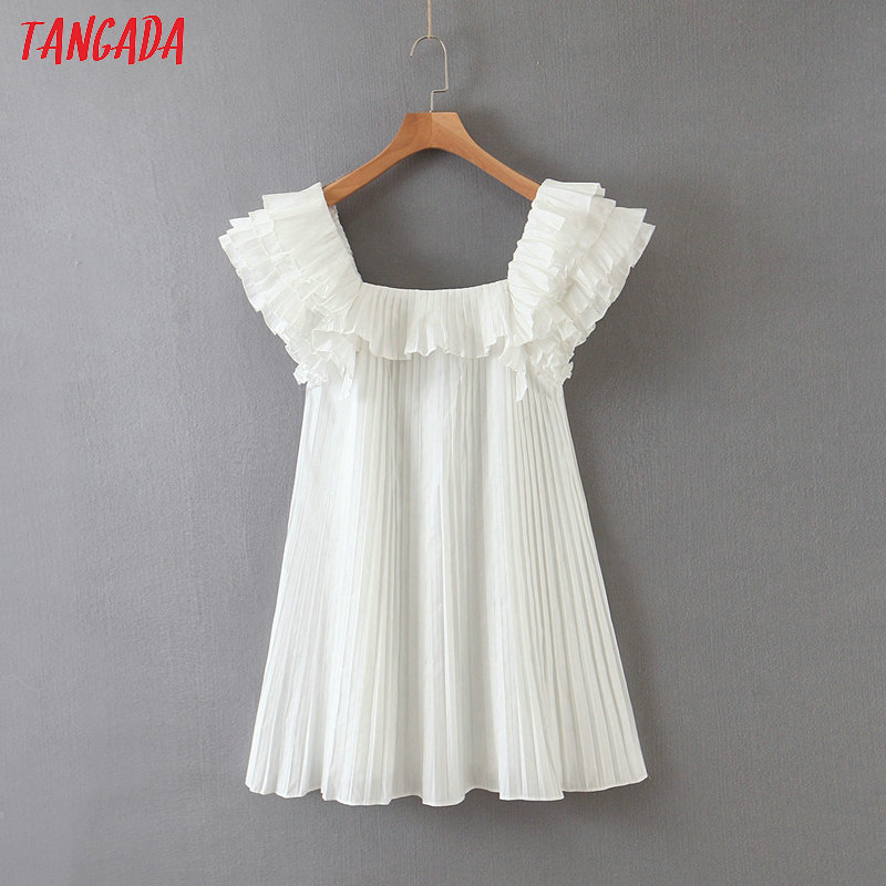 Tangada Fashion Women Ruffles White Summer Dress Short Sleeve Ladies Vinteage Pleated Dress Vestidos SL90