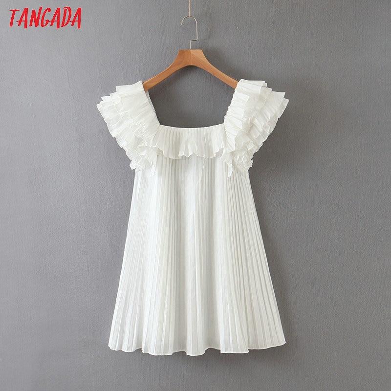 Tangada Fashion Women Ruffles White Summer Dress Short Sleeve Ladies Vinteage Pleated Dress Vestidos SL90