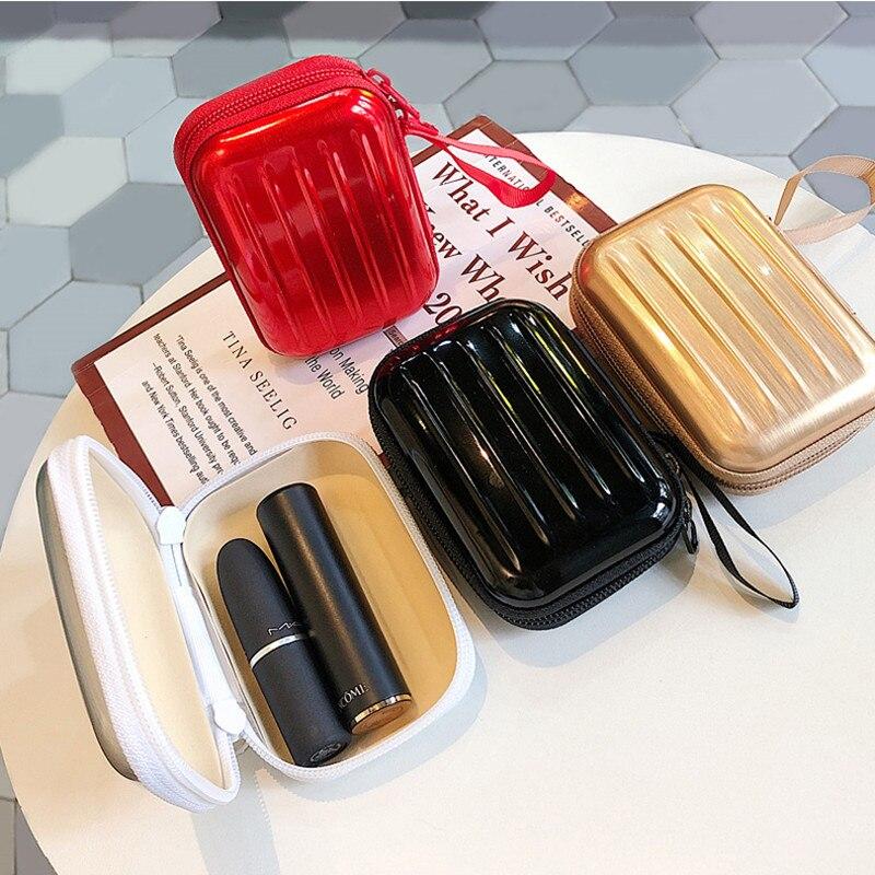 PUOU Portable Mini Suitcase Storage Box Storage Bag Travel Cosmetic Storage Makeup Bag Jewelry Storage Bag Lipstick Bag Purse