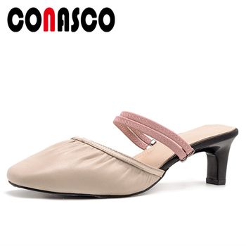 CONASCO Concise Women Sandals Pleated Mules High Heels Summer Casual Slippers Genuine Leather Shoes Woman Shallow New 2020 Pumps