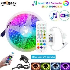 Smart Led Strips RGB 5050 2835 Music Wifi 24key Music Control Voice Google Alexa Home Decoration Waterproof For Christmas Room