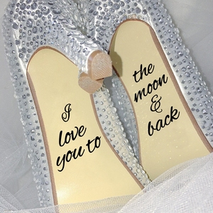 I Love You To The Moon And Back Quote Vinyl Sticker , Infinity Love Decal , Wedding Novelty Shoes Adhesives Accessories Decor(China)