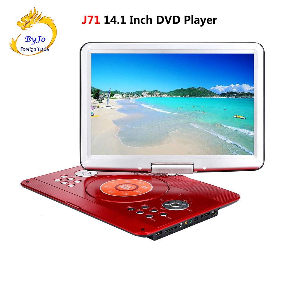 DVD плеер портативный телевизор 14,1 дюймов 1280x800 HD цифровой светодиодный долгий срок службы батареи с приемными телевизионными сигналами и U п...