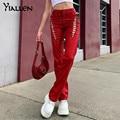 Yiallen Aushöhlen Verband Hipster Gerade Hosen Frauen 2021 Faux PU Leder Solide Mode Street Style Hosen Weibliche Heißer