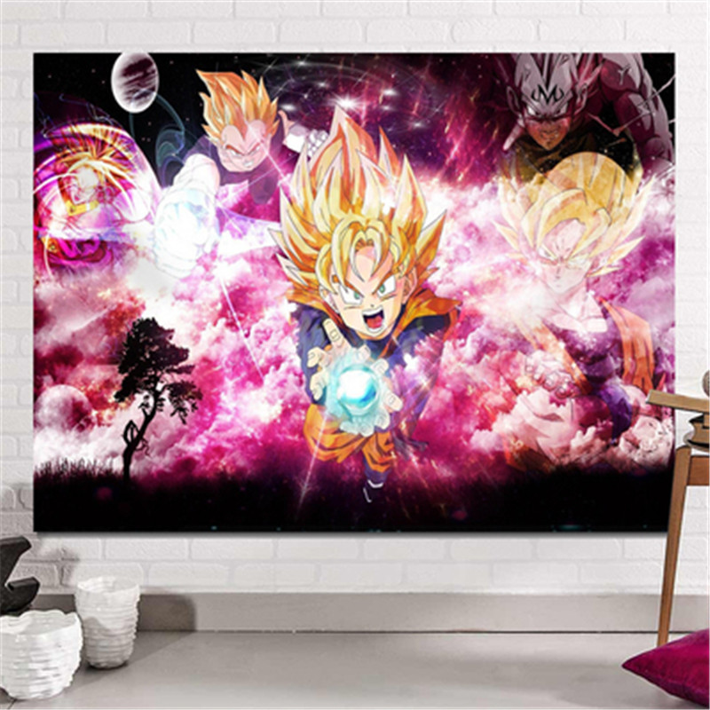 Dragon Ball Son Goku impression dortoir fond tissu Action Figure Anime maison décorative tissu tapisserie X2589 - 4