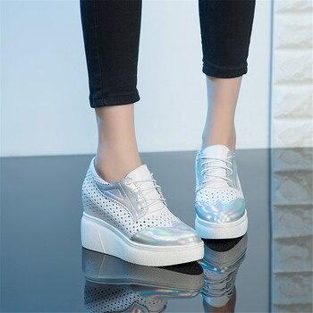 Karinluna New Lesiure Platform Genuine Leather Lady Inside High Heels Lace Up Casual Women Shoes Skin Pumps Woman