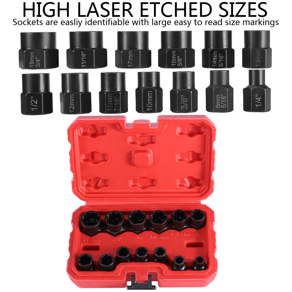 Bolt and Nut Extractor Set Remover Damaged Rusted Socket Impact Wrench Tool 13Pc