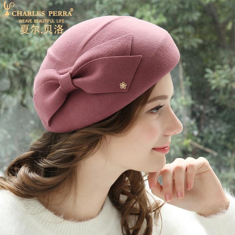 Charles Perra femmes mode chapeau 2019 nouveau automne hiver béret élégant dame Fedoras garder au chaud décontracté laine chapeaux casquettes 5716 - 4