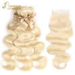 613 Honing Blonde bundels met sluiting Braziliaanse Body Wave Menselijk Haar Weave Bundels Met Sluiting Lace Sluiting Met Bundels Joedir