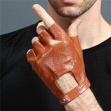 Fingerlessถุงมือหนังถุงมือขับรถถุงมือผู้ชายของแท้Unisexหญิงกีฬาครึ่งนิ้วมือยุทธวิธีAnti Slip Breathable