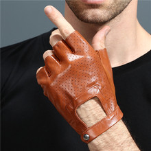 Gants en cuir sans doigts gants de conduite de voiture hommes véritable unisexe femme femmes sport demi doigts tactique anti dérapant respirant